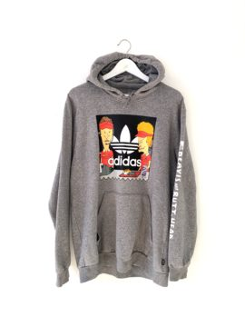 Hoodie gris Adidas avec logo au centre beavis and butt-head